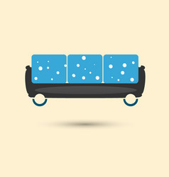Trendy sofa blue with white circles vector