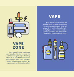 Vape zone vertical poster with modern devices for vector