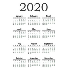 vertical pocket calendar on 2020 year vector image