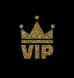 vip club logo with gold glitter vector image