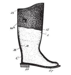 Waterproof boot vintage engraving vector