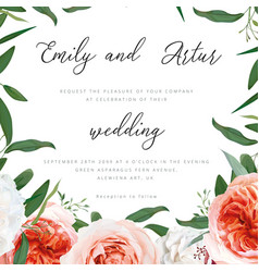 Wedding floral invite greeting save date card vector