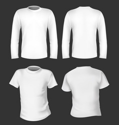 white long and short tshirt template vector image