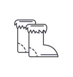 winter boots line icon concept winter boots vector image