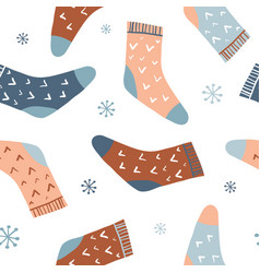 winter seamless pattern with cute socks vector image