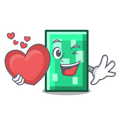 With heart rectangle mascot cartoon style vector