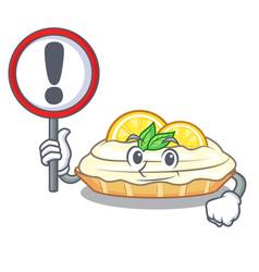 With sign cartoon lemon cake with sugar powder vector