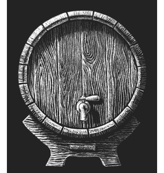 wooden barrel drawn on the chalkboard vector image