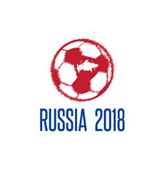 world cup in russia 2018 with ball and map vector image