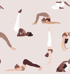 yoga pose seamless pattern diversity women sport vector image