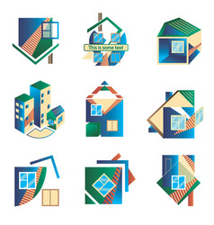 colored logos in the form of houses vector image vector image