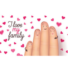 Family day finger flat card vector