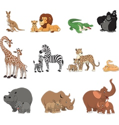 Funny kids animals and parents vector image