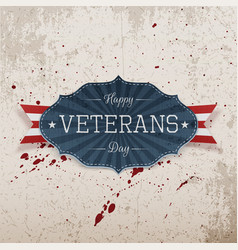 Happy veterans day retro realistic emblem vector