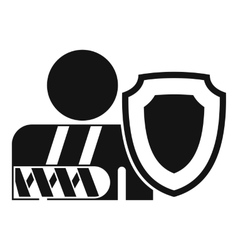 oken arm and safety shield icon outline style vector image vector image