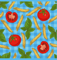 pasta herbs and vegetables seamless pattern vector image vector image