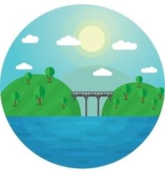 Round landscape bridge between vector image vector image