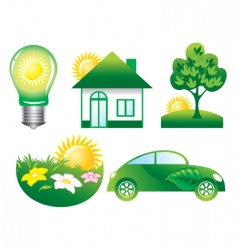 set ecology icons vector image