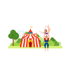 circus chapiteau athlete holds on hands girl vector image vector image