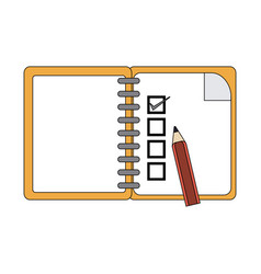 color graphic notebook icon with pencil vector image