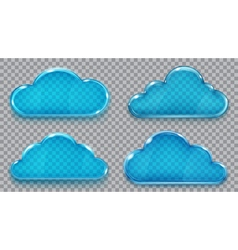 Set of transparent glass clouds vector image