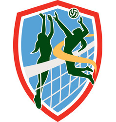 Volleyball Player Spiking Ball Blocking Shield vector image