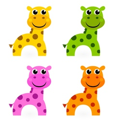 Funny colorful giraffe set isolated on white vector image vector image