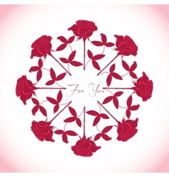 Ornamental round with red roses vector image vector image