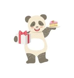 Panda Cute Animal Character Attending Birthday vector image