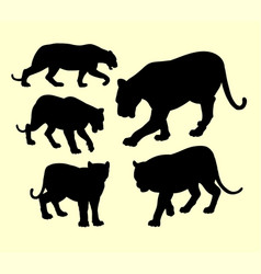 puma panther and tiger animal silhouette vector image vector image