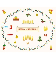 set of pixel art for christmas and new year vector image vector image