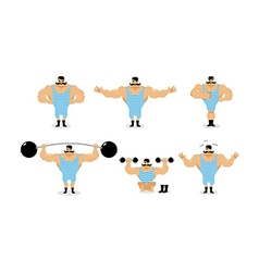 Strong retro athlete set poses Ancient bodybuilder vector image