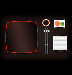 top view of dark brown empty sushi plate with vector image