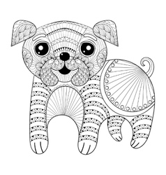 Zentangle Hand drawing Dog for antistress coloring vector image vector image