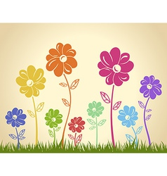 Colorful flowers on the grass background Green vector image vector image