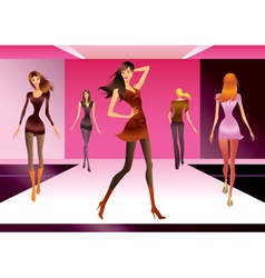 Fashion models in review of a new collection vector image