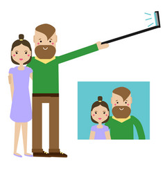 Modern young couple taking selfie photo hipster vector