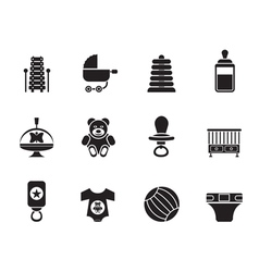 Silhouette Child and Baby Online Shop Icons vector image vector image