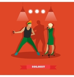 Singer couple sing a song on stage vector