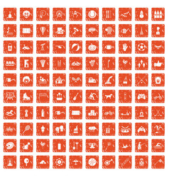 100 kids activity icons set grunge orange vector image
