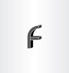 3d black letter f icon vector