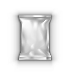 3d blank plastic snack package with shadow vector