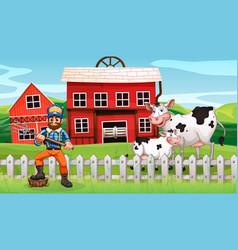 a farmer in rural scene vector image