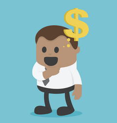 African businessman think about money vector
