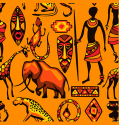 African ethnic seamless pattern people animals vector