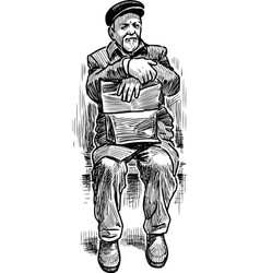An elderly man sits on a bench vector