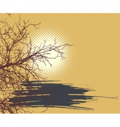 background with sun and branch vector image