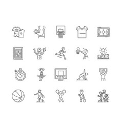 basketball line icons signs set outline vector image