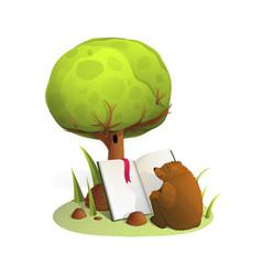 bear reading book under tree watercolor vector image