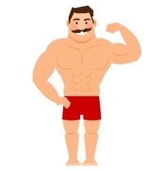 Beautiful cartoon muscular man with mustache vector